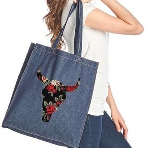 Boho Floral bull skull patch cotton canvas tote